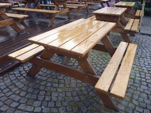 Empty outdoor fastfood tables with bench Stock Photography