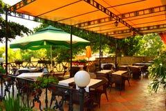 Empty outdoor restaurant Royalty Free Stock Image