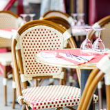 Empty outdoor restaurant table in Paris, France Royalty Free Stock Image