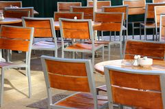 Empty outdoor seating in a cafe Stock Photography