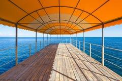 Empty outdoor solarium over Black Sea Royalty Free Stock Images