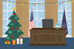 Empty Oval Office. Oval Office in the White House with christmas tree stock illustration