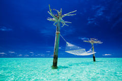 Empty over-water hammock in the middle of lagoon stock photography