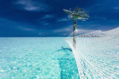 Empty over-water hammock in the middle of tropical lagoon stock image