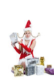Empty package. Cute young girl in christmas dress looking disappointed with an empty package Stock Photography