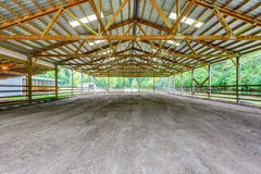 Empty paddock with shelter in the horse farm royalty free stock photography