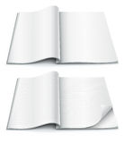 Empty pages inside of magazine with wrapped corner. Illustration isolated on white background Stock Photo
