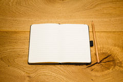 Empty pages notebook pencil on desk copy space Royalty Free Stock Photography