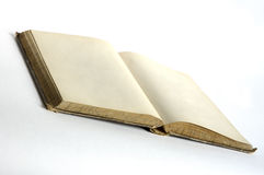 Empty pages in old book. Book from 19th century with two blank pages. Paper stained and yellow toned by time royalty free stock photo