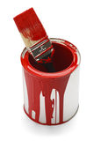 Empty Paint Can. Used Red Paint Can and Brush Isolated On White Background Stock Image