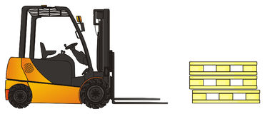 Empty pallets and forklift. Yellow forklift and empty wooden pallets on a white background Stock Photo