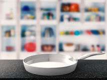 Empty pan with kitchen background Royalty Free Stock Images