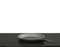 Empty Pan On The Table  On Isolated White Background Stock Images
