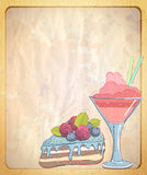 Empty paper backdrop with hand drawn illustration of cake and fruit dessert. Stock Photo