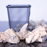 Empty Paper bin with paper balls arround Stock Images
