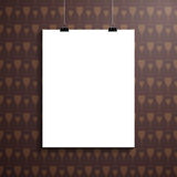 Empty paper blank and clips over modern wallpaper Royalty Free Stock Photos