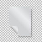 Empty paper blank sheet A4 with curl corner. Vector element for advertising and promotional message. Isolated vector illustration on a transparent background Royalty Free Stock Photography