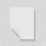 Empty paper blank sheet A4 with curl corner. Vector element for advertising and promotional message. Isolated vector illustration on a transparent background Stock Illustration