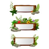 Empty paper blank on wooden signboard in the garden. Illustration of Empty paper blank on wooden signboard in the garden Royalty Free Stock Images