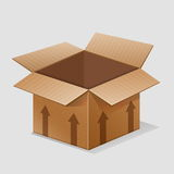 Empty paper box crate container for goods stock illustration