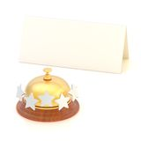 Empty paper card behind reception bell Stock Image