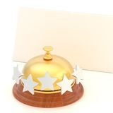Empty paper card behind reception bell Royalty Free Stock Photography