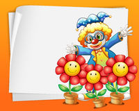An empty paper with a clown and pots of flowers Stock Images