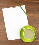 Empty paper with coffee on table Royalty Free Stock Photo