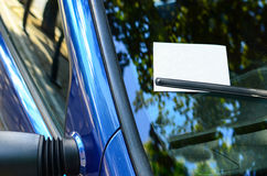 Empty paper with copy space on car windscreen Royalty Free Stock Photo