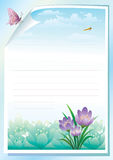 Empty paper with floral meadow on background Royalty Free Stock Photography