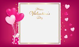 Empty paper with heart magic decorationwhite space board with gold border and happy valentine`s day stock illustration