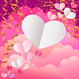 Empty paper hearts composition on pink background Stock Image