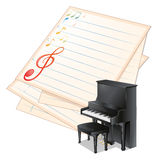 An empty paper with musical notes beside a piano Royalty Free Stock Image