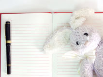Empty paper notebook background and rabbit doll Stock Image