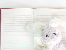 Empty paper notebook background and rabbit doll Stock Photo