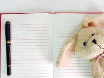 Empty paper notebook background and rabbit doll Royalty Free Stock Photo