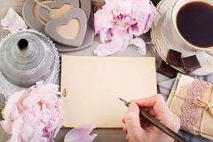 Empty Paper, Old Letters, Post Cards and Male Hand Stock Photos