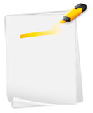 An empty paper with an orange highlighter Royalty Free Stock Photos