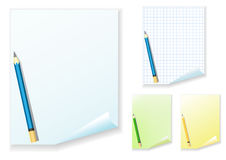 Empty paper and pencil. Set. Stock Photos