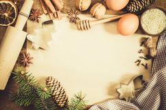 Empty paper for recipe of Christmas baking. Culinary background. Stock Photo