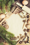 Empty paper for recipe of Christmas baking. Culinary background. Royalty Free Stock Photography