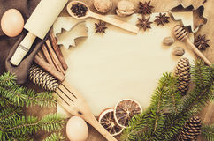 Empty paper for recipe of Christmas baking. Culinary background. Stock Images