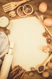Empty paper for recipe of Christmas baking. Culinary background. Royalty Free Stock Images