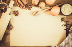 Empty paper for recipe of Christmas baking. Culinary background. Royalty Free Stock Photos