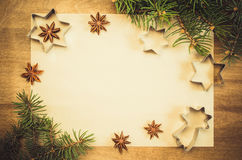 Empty paper for recipe of Christmas baking. Culinary background. Royalty Free Stock Photo