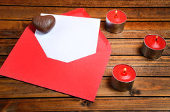 Empty paper with red envelope Stock Images
