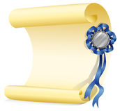 An empty paper with a ribbon Stock Photography