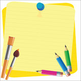Empty paper sheet and lined notepad and pencil for attaching paper Vector EPS10 Stock Photography