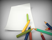 Empty paper sheet-pencils Royalty Free Stock Images