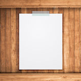 Empty Paper Sheet Stick On Wood Background. Stock Photography
